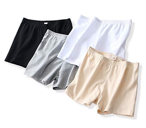crazycatz Damen Übergröße Stretch Baumwolle Langes Bein Boyshort Unterhosen Packung mit 4 Stück (Set of 4, XL EU 44-46) -