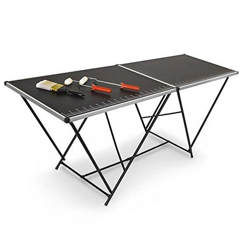 Relaxdays Tapeziertisch klappbar 2 m mit Mess-Skala und Tragegriff 200 cm für Flohmarkt, Camping HxBxT: 77 x 200 x 60, schwarz