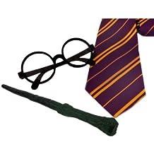2 juegos de accesorios para disfraz de mago (corbata + gafas + varita de plástico)