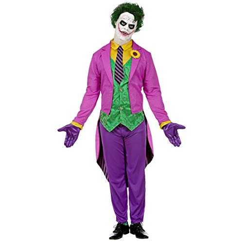Amakando Auffällige Männer-Verkleidung Mad Joker / Violett-Grün in Größe L (52) / Bunter Herren-Anzug Schurke / Der Hit zu Fasching & Karneval