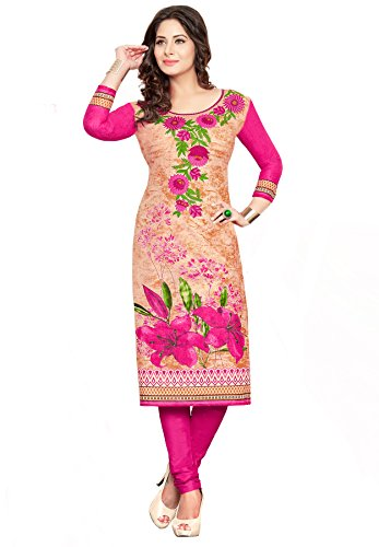 Salwar Studio Women's Pink & Beige Cotton Floral Printed Unstitched Kurti Fabric (only Kurti Fabric)  available at amazon for Rs.525