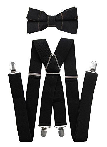 en Schwarze Hosenträger mit Fliege Set- 4 Starken Clips X-Form-3,5cm breit (Schwarze Hosenträger + Fliege Modell 7) (Schwarzen Fliege Und Hosenträger)