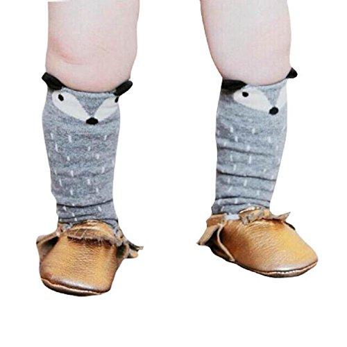 Generic Kleinkinder Mädchen Junge Fuchs Muster Kniestrümpfe Socken (0-1 Jahre, Grau)
