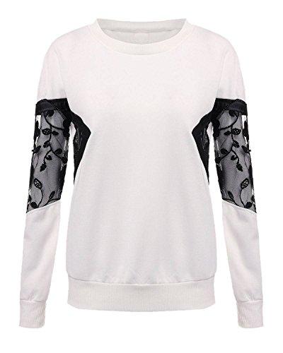 ZANZEA Femme Casual Manches Dentelle Sweatshirt Hoodie Blouse Blanc