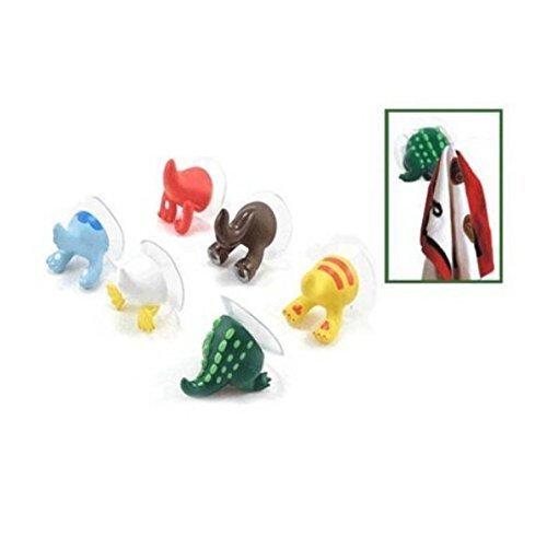 UChic 6 STÜCKE Niedlichen Schwanz Tier Gummi Sucker Haken Schlüssel Handtuchhalter Halter Haken und Saugnapf Saug Baby Bad Handtuchhalter Halter ()