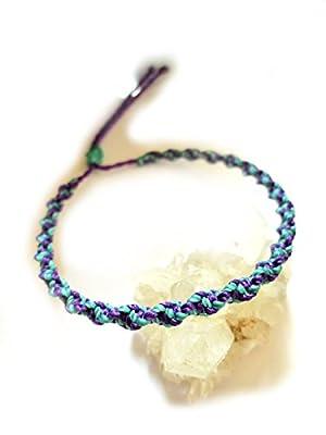 Bracelet brésilien/amitié/duo/bohème/unisex/surf/en fil tissage rond spirale bleu turquoise et violet tissé main en macramé Réf.PSVioTur