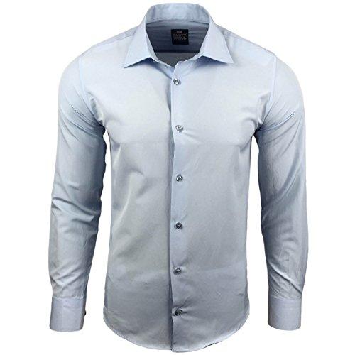 Rusty Neal Herren Einfarbig Hemd Business Hochzeit Slim Fit S bis 6XL 55 Hellblau