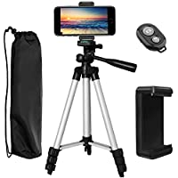 "PEMOTech Phone Tripod, 43"" Inch Aluminum Lightweight Portable Camera Tripod +Universal Smartphone Holder +Bluetooth Remote Shutter+Tripod bag Compatible iPhone X,8/8 Plus,7/7 Plus,6/6S/6S Plus Stabilizer"