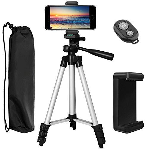 """Trípode para Móvil, PEMOTech 106cm (42"""") de Aluminio Trípode de cámara con control remoto + Adaptador de Teléfono + bolsa de transporte para iPhone X /8 Plus /7/6 Plus/5s/5, para Samsung Galaxy S9/ S8/ S7/S7 Edge, para HUAWEI, para Cámara DSLR Canon, para Nikon, para Sony (42'/106cm Trípode)"""