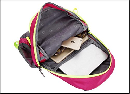 AllureFeng Outdoor Nylon wasserdicht Sport Rucksack Tasche großvolumigen Wanderfreunde Rucksack Wanderrucksack rose red