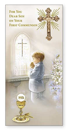For You Dear SON on Your First Communion Card Gold