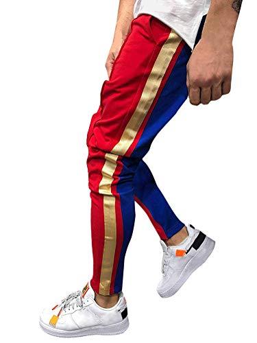 Tomwell Herren Hose Stripe Pants Cool Dry Sporthose Slim Fit Jogginghose Sport Fitness Trainingshose Slim Fit Sweatpants Freitzeithose Rot Small