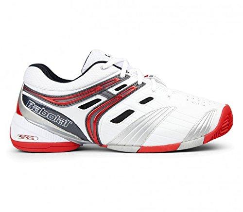 Babolat V-Pro 2Clay M - Chaussures de Tennis, modèle 2013, pour homme, Adulte mixte, Weiß/Schwarz/Silber/Rot, 40.5 EU