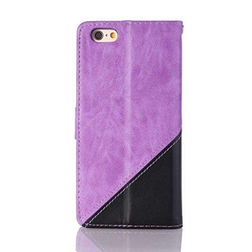 Uming® spéciales Séries Motif Colorful Imprimer cas PU Holster Case ( Hit color Pink & Brown - pour IPhone6SPlus IPhone 6SPlus 6Plus IPhone6Plus ) Artificial-cuir flip avec support Stander titulaire d Hit color Purple & Black