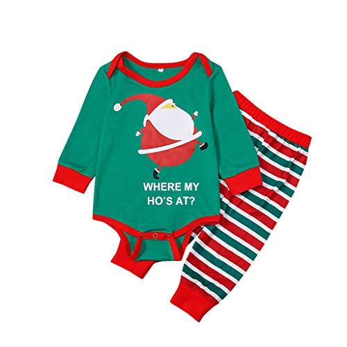 JiaMeng Neugeborene Baby Mädchen Jungen Weihnachten Eltern Kind Baby Cartoon Santa Drucken Romper + Gestreifte Lange Hosen Zweiteiliger Anzug