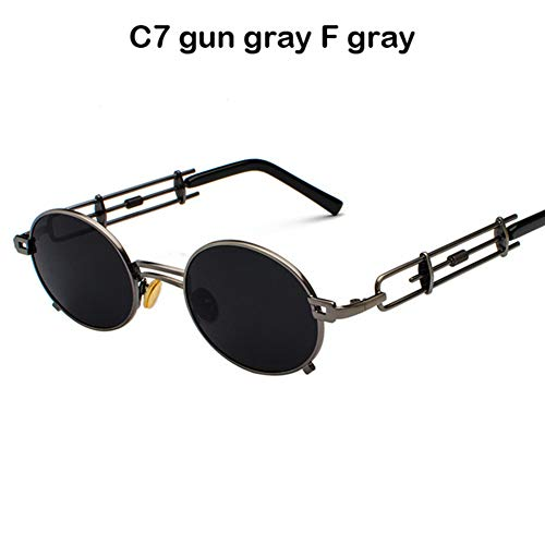 Li Kun Peng Männer Metall Oval Frame Steampunk Gothic Vampire Sonnenbrille Einzigartige Retro Sonnenbrille Cosplay Styling Sonnenbrille,C7GunGray~Gray