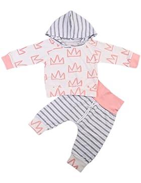 Bebé Niña Recién Nacido Camiseta de Capucha de Raya Manga Larga y Pantalones Ropa Conjutos