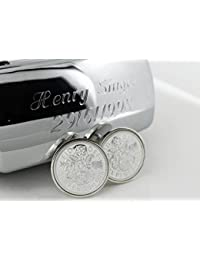 Year 1998 Lucky Sixpence Sterling Silver Cufflink with Engraved Cufflink Box