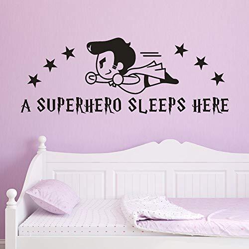 60x23 cm Wandaufkleber Niedlich Ein Superheld Schlaf Hier Wandtattoos Kinder Schlafzimmer Tapete Dekoration Kunst Wandtattoos Poster
