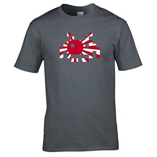 Naughtees Strampler, japanische Flagge Space Invader Shirt. Von Den Frühen Tagen der Computer Gaming. Geek Chic. Grau - Grau - Sport Grey