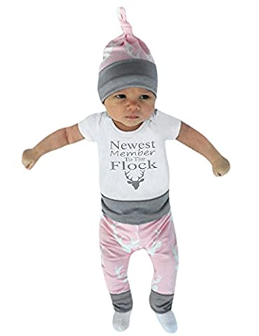 Weant Christmas Newborn Baby Boy Girl Clothes Winter 3 pcs Letter Romper Tops+Deer Pants Outfits Set Clothes (6-12 months,