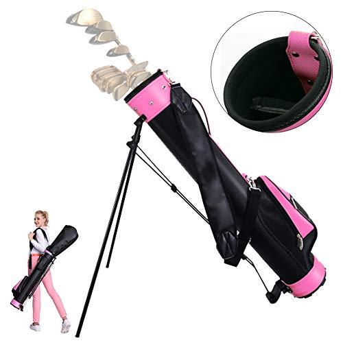 Bibiyi Sac de Golf Rose - avec Support - Sac de Golf - Unisexe - Peut Contenir 9 Clubs - Sac de...
