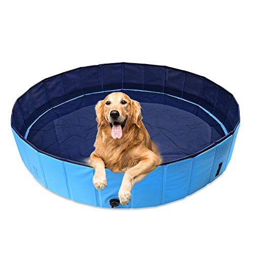 120x30cm Piscina de Baño Ducha Plegable para Mascota Bañera Portátil Perro/Gato Animales Azul Perros Diametro 120cm y Altura 30cm Natacion Mascotas