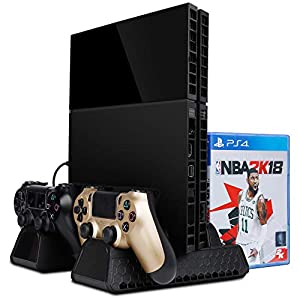 Zacro PS4 Standfuß Vertikalständer PS4 Kühler mit 2 Lüfter Dual USB HUB Ports Multifunktion für PS4 PS4 Slim PS4 Pro