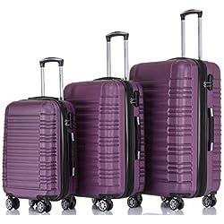 BEIBYE Zwillingsrollen Reisekoffer Koffer Trolleys Hartschale in XL-L-M in 14 Farben (Violett, Set)