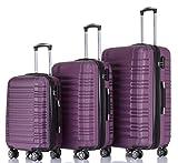 BEIBYE 2088 Zwillingsrollen Reisekoffer Koffer Trolleys Hartschale M-L-XL-Set in 13 Farben (Violett, Set)