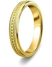 Nuevo sólido 9ct 375oro amarillo 4mm Milgrain patrón pesado corte con forma de banda Anillos de boda unisex disponible en todos los tamaños entre G–Z + 3| fabricado en el Reino Unido. & Hallmarked