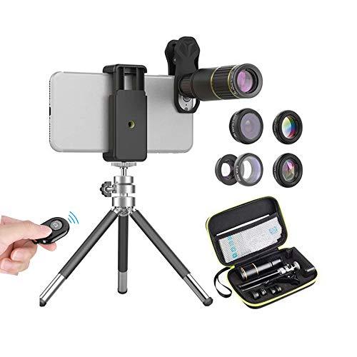 APEXEL 6 in 1 Handy Kamera Objektiv Kit,16X-Teleobjektiv+198°Fisheye-Objektiv+0,63X-Weitwinkel&15X-Makroobjektiv+Kaleidoskop+CPL  mit ausziehbarem Stativ für iPhone Samsung und die meisten Smartphone Weitwinkel-objektiv-kit