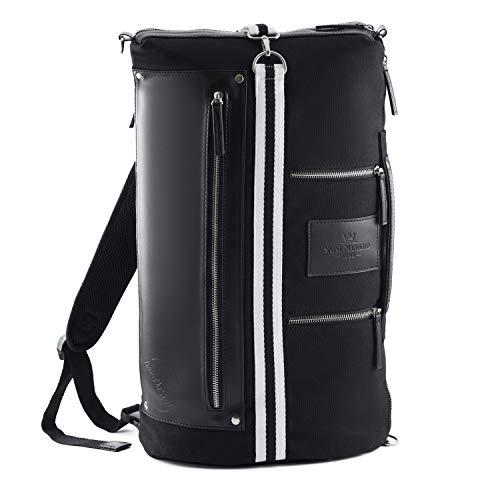 Saint Maniero ® Design Rucksack für Alltag und Uni - Stauraum für Laptop, Leitzordner, Bücher und mehr - wasserabweisendes Material (All-Black)