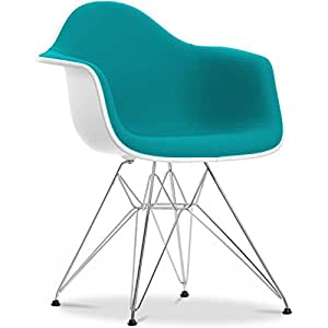 Chaise DAR Charles Eames Style - Tissu Turquoise