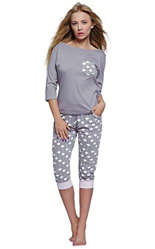 SENSIS Edler Baumwoll-Pyjama Hausanzug aus wunderschönem Oberteil und toller Capri-Hose mit Bündchen, Made in EU (S (36), grau/weiß mit Wolken) (Anzug Nacht Für Frauen)