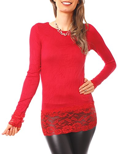Easy Young Fashion - Top à manches longues - Femme Rouge - Rouge