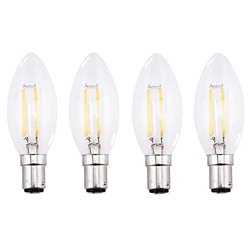 Bonlux 4-Pack 4W SBC B15 Glühfaden LED Candelabra Birnen-warmes Weiß 2700K Kleine Bajonett LED Jahrgang Glühfaden Kerze-Birnen-40W Glühlampenlicht Replacement (nicht dimmbar) Eine Kerze Co
