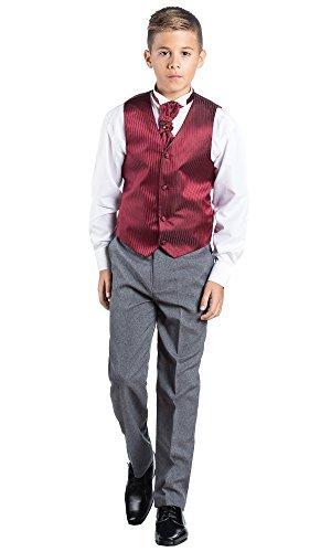 Paisley of London Kostüm Weste Jungen, Seite Jungen Outfits, Gestreift, Hose grau, 3–6Monate–14Jahre Gr. 6-12 Monate, bordeaux (Costume Gris Cravate)