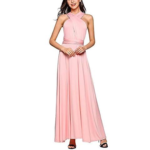 Robe de soirée longue pour femme Robe de soirée à plusieurs étages (S, Rose)