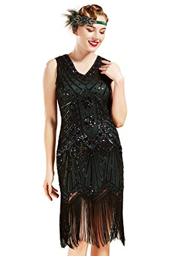 BABEYOND Damen Flapper Kleider voller Pailletten Retro 1920er Jahre Stil V-Ausschnitt Great Gatsby Motto Party Damen Kostüm Kleid (XL, ()
