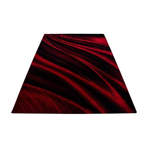 Teppich modern Designer Wohnzimmer Kurzflor Abstrakt Wellen Muster Meliert Schwarz Rot Oeko Tex Standarts, Maße:120x170 cm