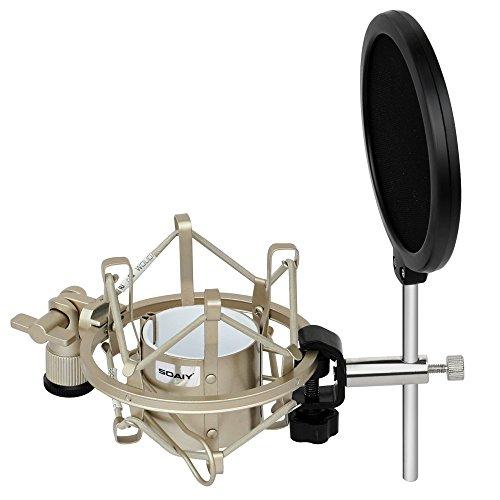 SOAIY® Mikrofon Spinne elastische Mikrofonhalterung Shockmount inkl. Popschutz für 43-46mm Mikrofon-Durchmesser