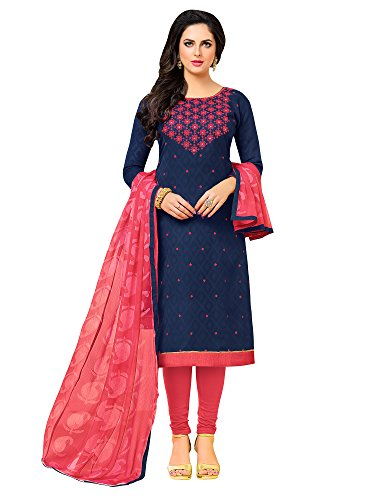 Applecreation Cotton Women's Dress Material (Dresses 12Drd15011_Navy Blue, Free Size)