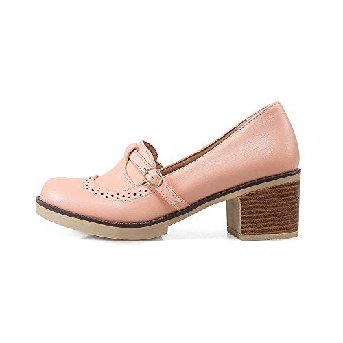 VogueZone009 Damen PU Leder Mittler Absatz Rund Zehe Rein Schnalle Pumps Schuhe, Pink, 34