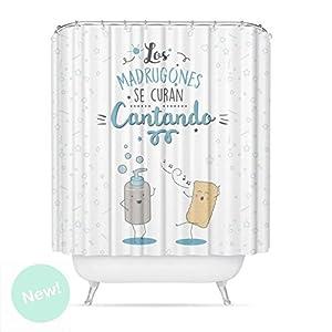 Dcasa – Cortina de baño original poliester diseño mensaje «CANTANDO»