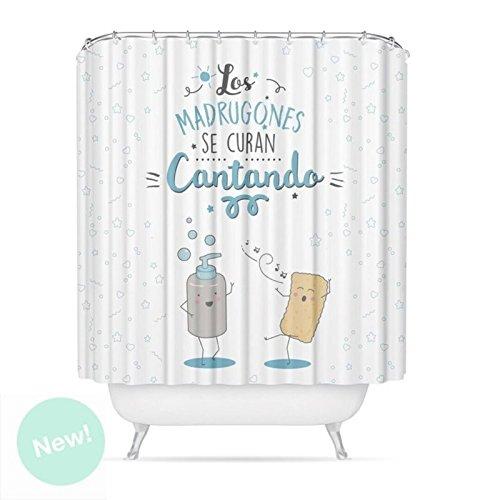 "Dcasa - Cortina de baño original poliester diseño mensaje ""CANTANDO"""
