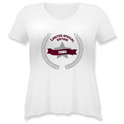 Geburtstag - 1980 Limited Special Edition - Weit geschnittenes Damen Shirt in großen Größen mit V-Ausschnitt Weiß