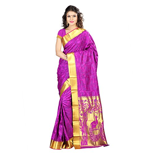 Varkala Silk Sarees Women's Art Silk Kanchipuram Saree With Blouse Piece(JP7102PV_Purple_Free Size)