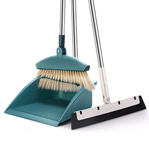 Besen und Dustpan Set,3 Piece Grips Sweep Set mit Staubpanne, Wipe und Dry Floor Squeegee,180 ° Rotation Broom für die Reinigung Home Kitchen Garden Room Office Floor