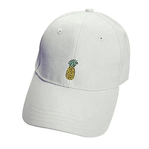 Cap Transer® Damen/ Mädchen Baseball Cap Hut Baumwolle Lässig Schwarz Rosa Weiß Ananas Sonnenschirm Mützen Hutumfang: 52- 62cm (Weiß)
